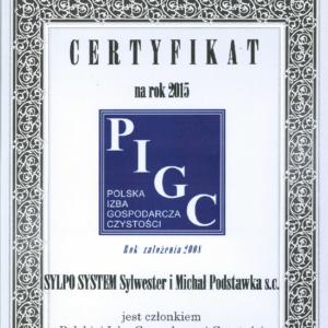 Certyfikat Polskiej Izby Gospodarczej Czystości