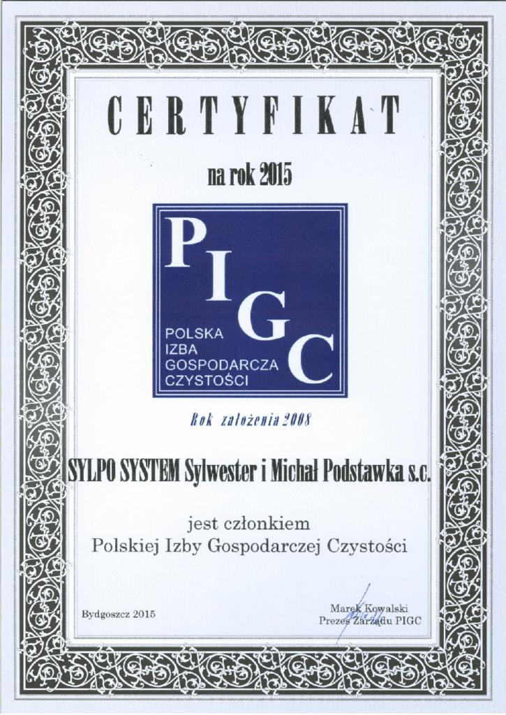 Certyfikat PIGC dla Sylpo System